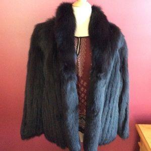 Saga furs black fox high collar long sleeve jacket